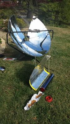SolSource parabolic and my little evacuated tube cooker.