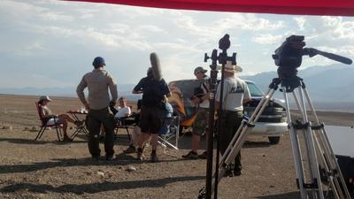 BBC Film Crew in Death Valley on a cool 118 F day