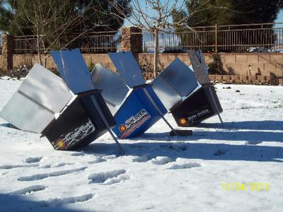 Solar Cooking in winter with three Sun Ovens