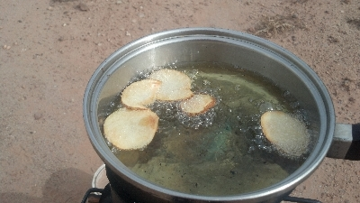Grover Rocket Stove Potato Chips