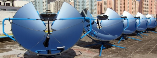 Array of SolSource Parabolic Cookers