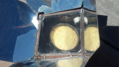 Solar Cooked Peach Cake at about 30 minutes