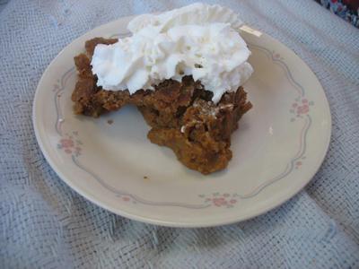Solar Cooked Pumpkin Pie with cream