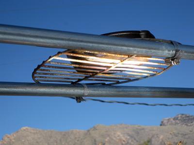 Focal line on bottom of cast iron pan.