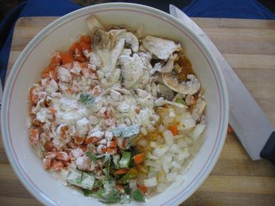 Raw veggies and chicken