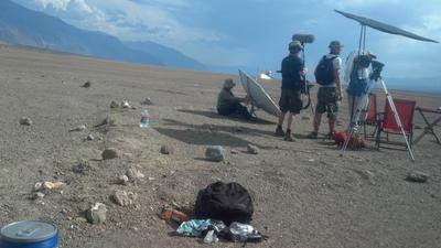Death Valley wind trying to carry off the Parabolic