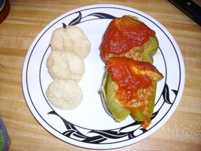 Plated peppers with drop buscuits