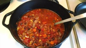 Our first solar cooked Vegn Chili