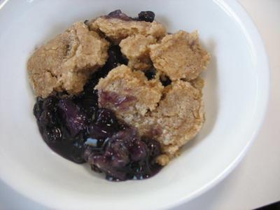 Hot Pot Blueberry dessert served