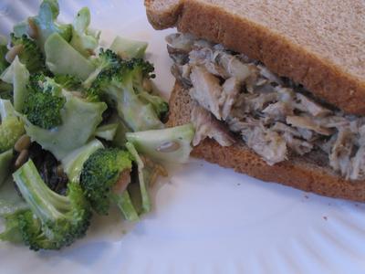 Shredded Sunshine Chicken Sandwich (solar cooked)
